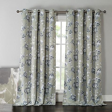 Kensie Nelliebee 84 Inch Thermal Room Darkening Grommet Top Window Curtain Panel Pair In Grey