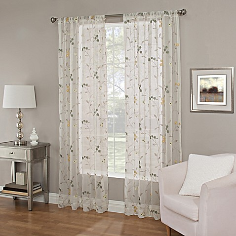 Meadow Embroidery Sheer Window Curtain Panel Bed Bath
