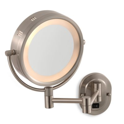 Hardwired Lighted Vanity Mirror : Jerdon 5X/1X Nickel Lighted Hardwired Wall Mount Mirror - Bed Bath & Beyond