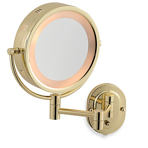 Jerdon 5x 1x Brass Lighted Wall Mount Mirror Bed Bath