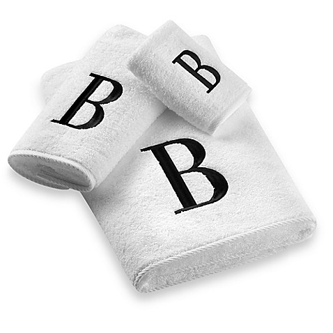 Avanti Black Monogram On White Bath Towels Bed Bath Amp Beyond