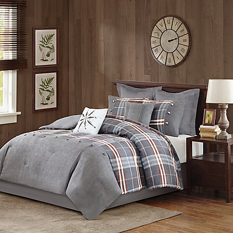 Woolrich 174 Woodland Reversible Comforter Set In Grey Bed