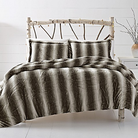 Leena reversible cozy faux fur comforter set in grey bed - Bed bath and beyond bedroom furniture ...
