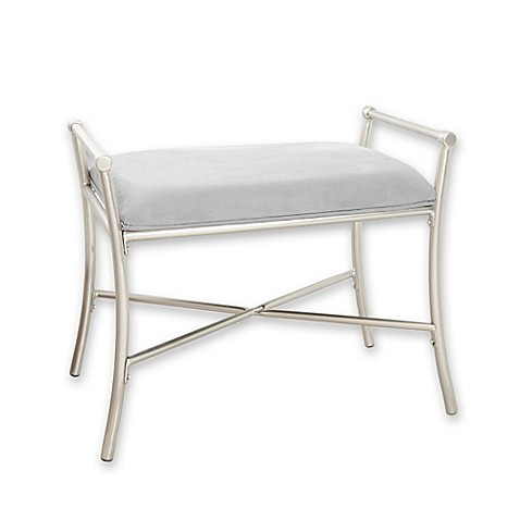 Harlow Vanity Bench in Brushed Nickel at Bed Bath & Beyond in Cypress, TX | Tuggl