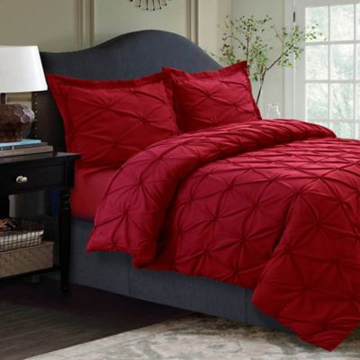 Tribeca Living Sydney Pintuck Duvet Cover Set Bed Bath