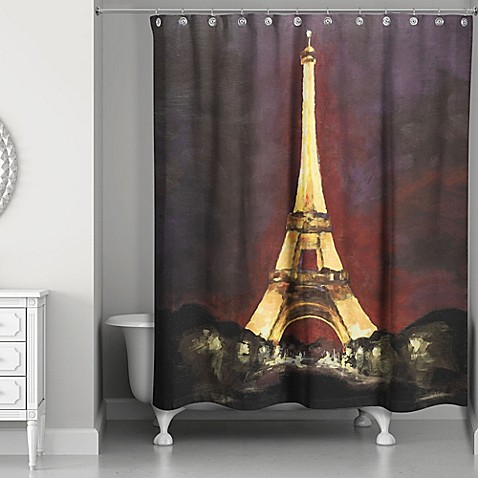 designs direct night in paris shower curtain in black yellow bed bath beyond. Black Bedroom Furniture Sets. Home Design Ideas
