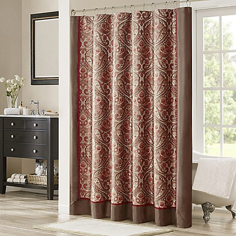 Madison Park Talbot 72 Inch Shower Curtain In Brown Red Bed Bath Beyond