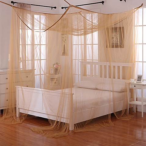 Buy palace 4 poster bed canopy in gold from bed bath beyond for Gold bed canopy