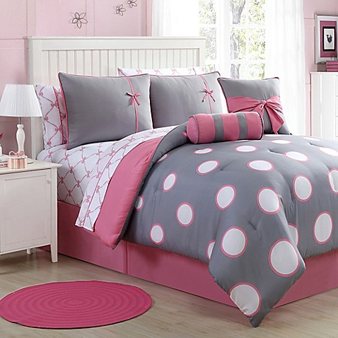buy sophie 8 piece twin comforter set in pink grey from bed bath beyond. Black Bedroom Furniture Sets. Home Design Ideas