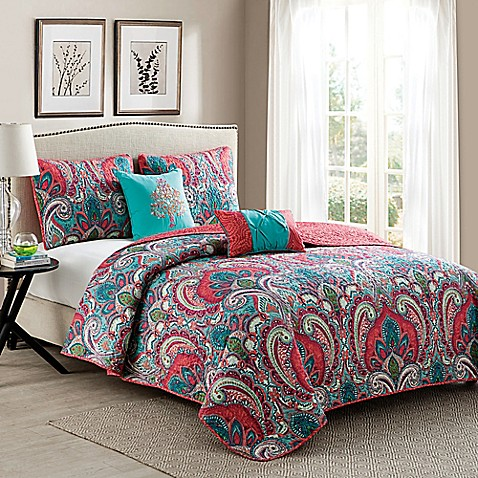 Vcny Casa Re 39 Al Quilt Set In Pink Turquoise Bed Bath