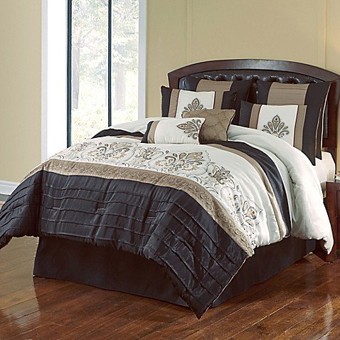 Jacob 8-Piece Comforter Set in Black/Gold - Bed Bath & Beyond