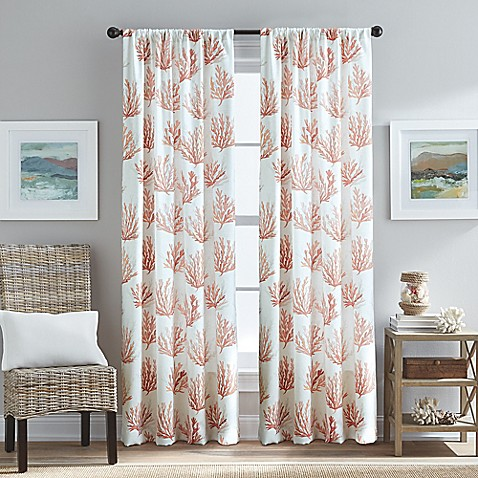 Cocoa Beach Pole Top Window Curtain Panel In Coral Bed