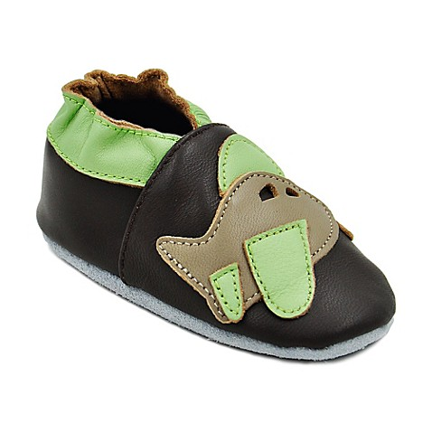 Momo Baby Airplane Leather Soft Sole Shoes in Brown Bed