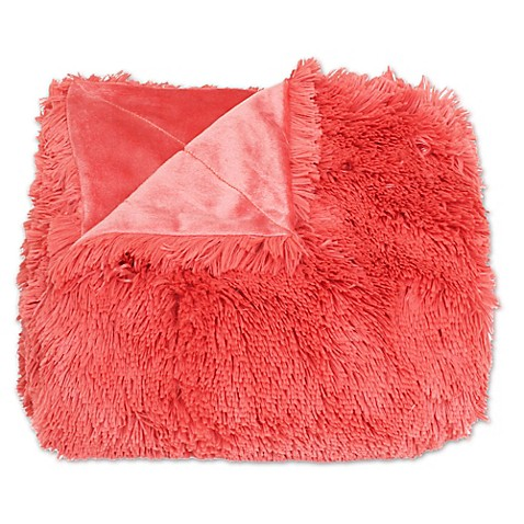Buy Thro Chubby Faux Fur Throw Blanket In Spiced Coral