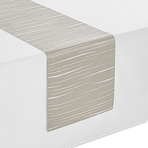 Waterford essentials linea table runner in taupe bed for 120 inches table runner