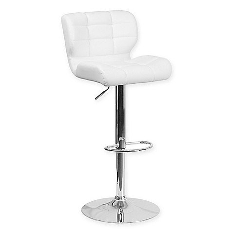 Buy Flash Furniture Tufted Adjustable Height Bar Stool In White From Bed Bath Beyond