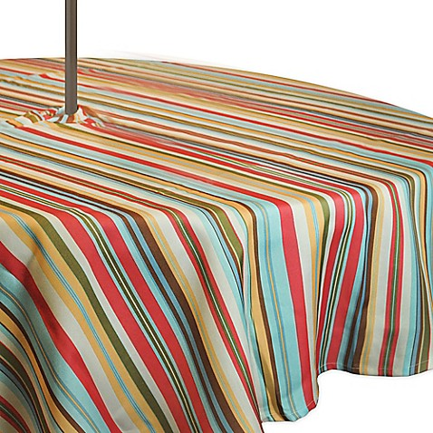 Buy Stripe 60 Inch Round Tablecloth With Umbrella Hole