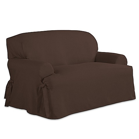 Perfect Fit Relaxed Fit Cotton Duck T Cushion Loveseat Slipcover Bed Bath Beyond