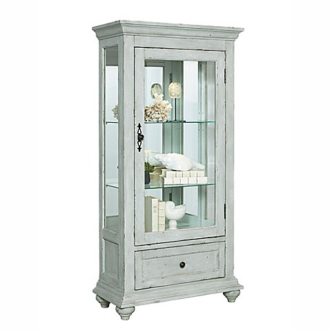 Pulaski Addison Curio Cabinet In Distressed White Bed