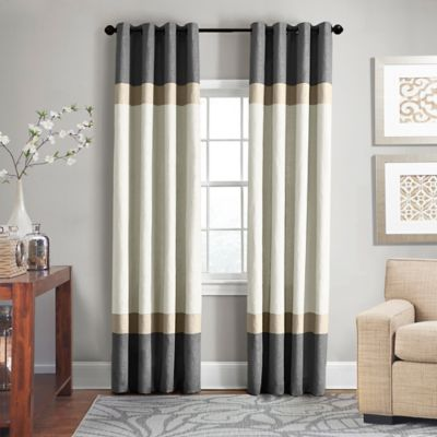 Veratex Brooklyn Colorblock Linen Grommet Window Curtain Panel by Bed Bath And Beyond