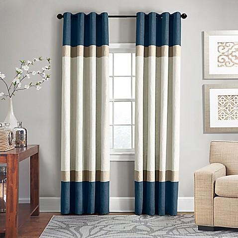 Veratex brooklyn colorblock linen grommet window curtain for Brooklyn linen stores