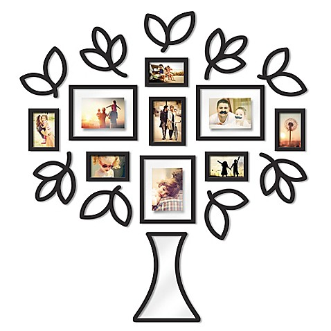 Wallverbs™ Open Leaf Tree 19-Piece Picture Frame Set in Black at Bed Bath & Beyond in Cypress, TX | Tuggl