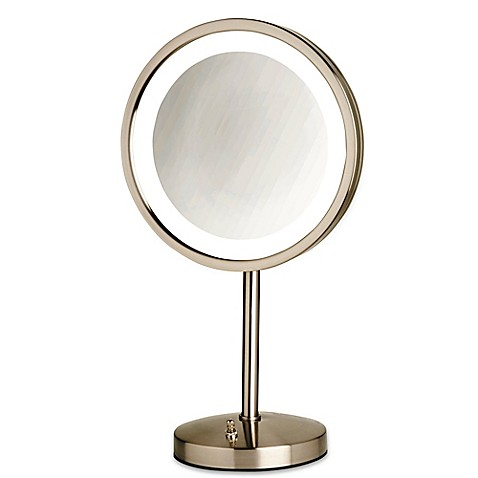 Buy Jerdon Tabletop LED Lighted Vanity Mirror in Nickel