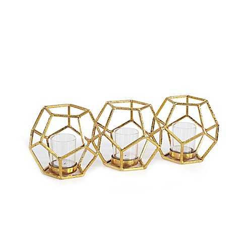 Danya B. Sparkling Polyhedron Triple Candle Holder in Gold at Bed Bath & Beyond in Cypress, TX | Tuggl