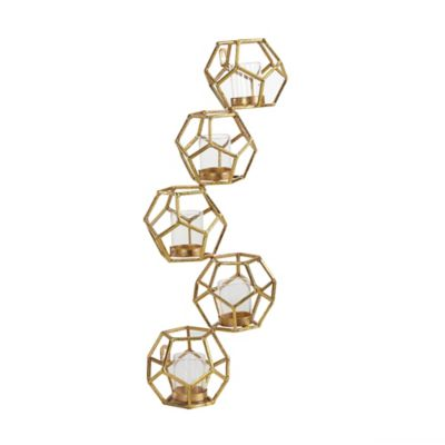 Buy Danya B. Polyhedron Vertical Candle Wall Sconce in Sparkling Gold from Bed Bath & Beyond