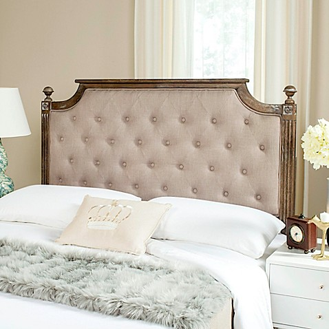 buy safavieh rustic wood tufted queen headboard in taupe from bed bath beyond. Black Bedroom Furniture Sets. Home Design Ideas