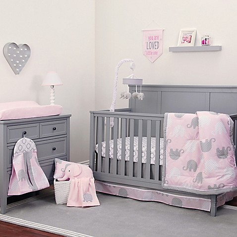 Nojo 174 Dreamer Elephant Crib Bedding Collection In Pink