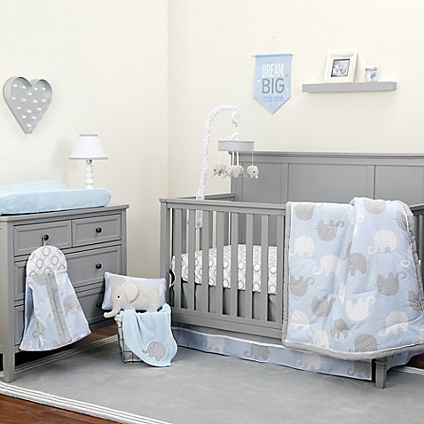 Nojo 174 Dreamer Elephant Crib Bedding Collection In Blue