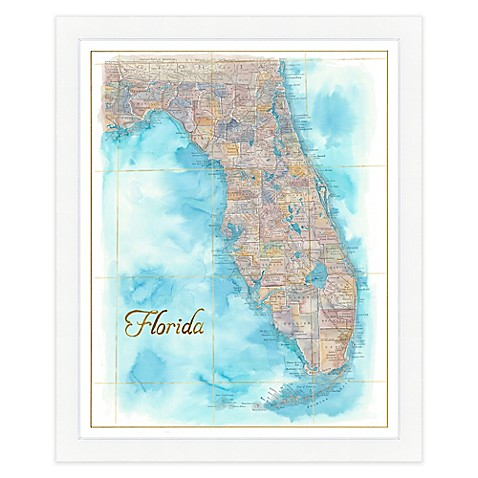 Florida Map Watercolor Wall Art Bed Bath Beyond