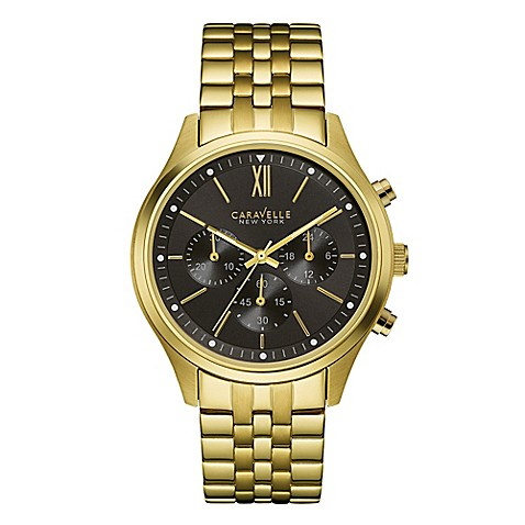 Buy Caravelle New York Mens 41mm Chronograph Black Dial Watch In Goldtone Stainless Steel From