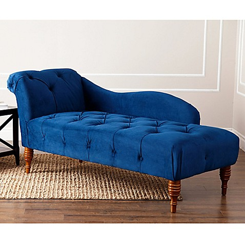 Abbyson living audrey velvet tufted chaise lounge in blue for Blue velvet chaise