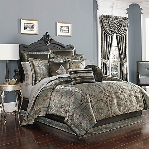 J by j queen new york bridgeport comforter set in spa for Matching bedroom and bathroom sets