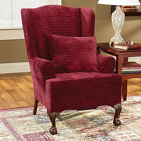 Sure Fit Stretch Royal Diamond Wingback Chair Slipcover