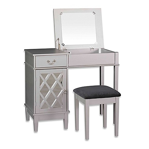 Linon Home Lattice 2-Piece Vanity Set in Silver at Bed Bath & Beyond in Cypress, TX | Tuggl
