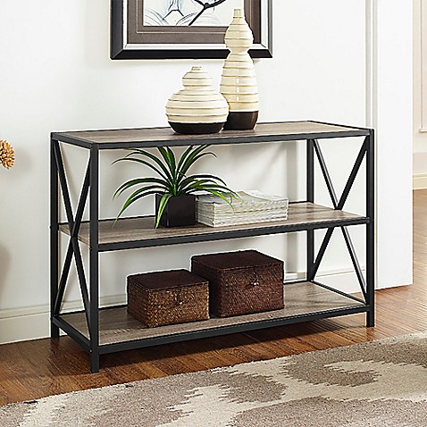 Walker Edison X Frame Metal Wood Media Bookcase Bed Bath