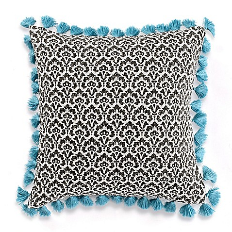 Anthology™ Kiran Floral Scale Square Throw Pillow in Black/Teal at Bed Bath & Beyond in Cypress, TX | Tuggl