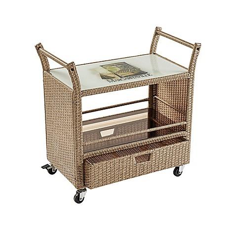Margaritaville 174 Outdoor Rolling Wicker Bar Cart In Brown