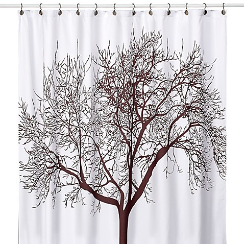 tree brown 70 inch x 72 inch fabric shower curtain