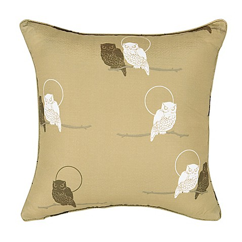 Rose Tree Night Owl 18-Inch Square Throw Pillow in Tan - Bed Bath & Beyond