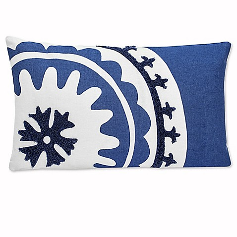 Under the Canopy Amalfi Suzani Oblong Throw Pillow in Blue - Bed Bath & Beyond