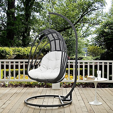 Buy modway whisk patio stand alone swing chair in white for White porch swing with stand