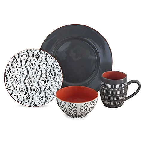 Baum Tangiers 16-Piece Dinnerware Set in Grey at Bed Bath & Beyond in Cypress, TX | Tuggl
