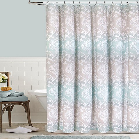 Colordrift waterolor damask shower curtain bed bath beyond - What uses more water bath or shower ...