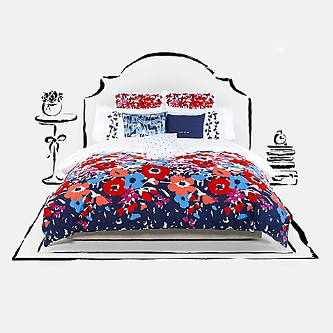 Kate spade new york poppy fields mini comforter set bed for Bed bath and beyond kate spade