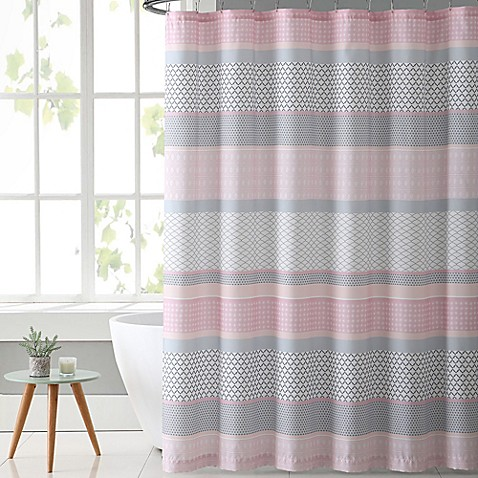 Vcny home stockholm shower curtain in pink grey bed bath for Pink grey bathroom accessories