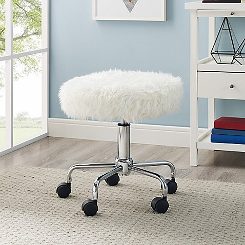 Buy Faux Fur Backless Office Chair In White From Bed Bath